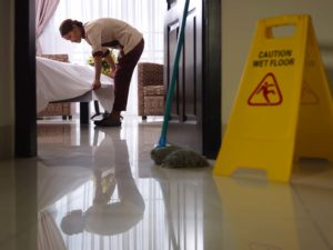 photo in a premises liability case of someone who slipped and fell on a wet floor